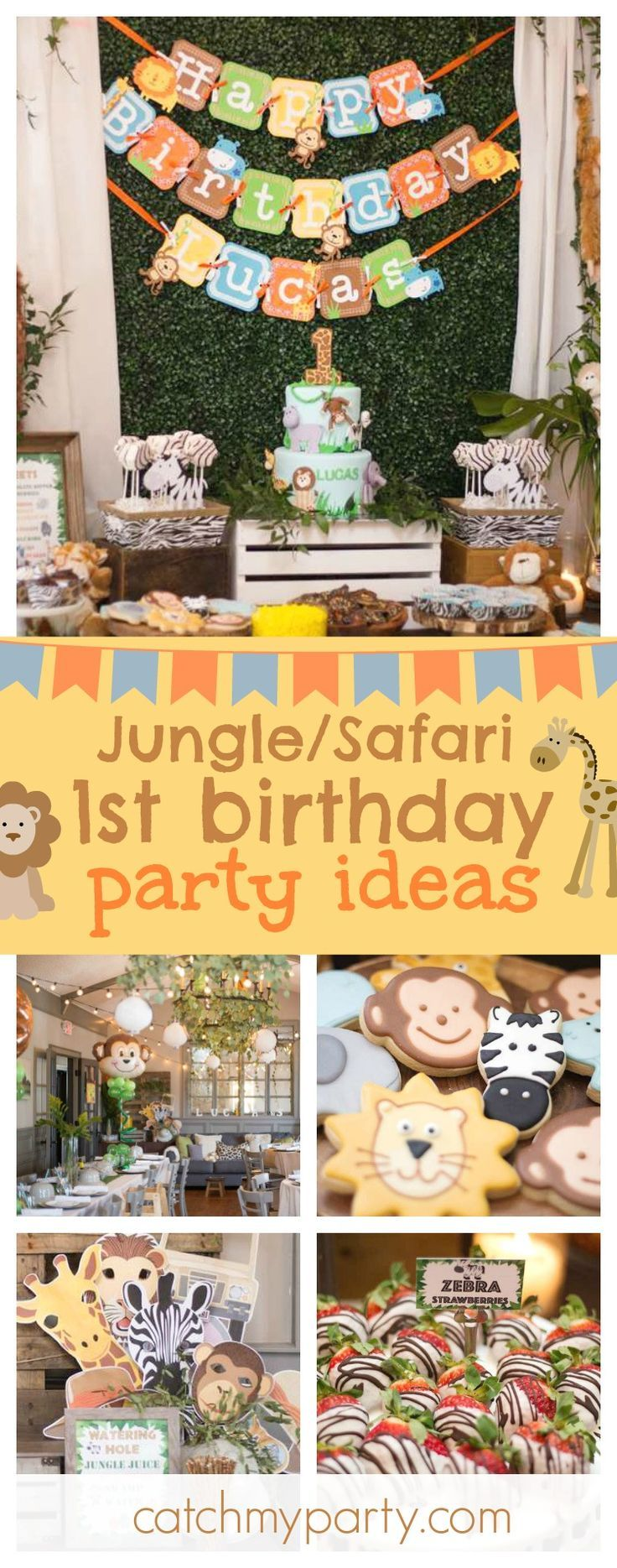 Check out this fun Jungle/Safari 1st Birthday party! The jungle inspired decor is so cute! Love the animal balloons!! See more party ideas and share yours at CatchMyParty.com