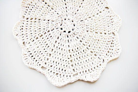 Shabby Chic Baby Nursery Decor Doily Crochet Rug LUULO / Handmade Lace Area Rag / by BUUBOKshop