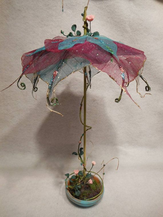 Fairy Garden Umbrella Miniature Patio Display by NewberryThicket (For inspiration-item has sold.)