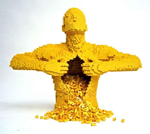 Open me up Lego's inside me: Sculpture, Nathan Sawaya, Stuff, Lego Man, Brick, Lego Art, Legos, Yellow, Also Nsawaya