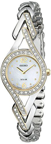Seiko Women's SUP174 Swarovski Crystal-Accented Two-Tone Solar Watch Check https://www.carrywatches.com