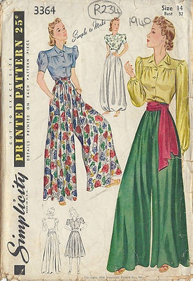 1940 Vintage Sewing Pattern B32-W27 BLOUSE-TROUSERS-CULOTTE (R234)