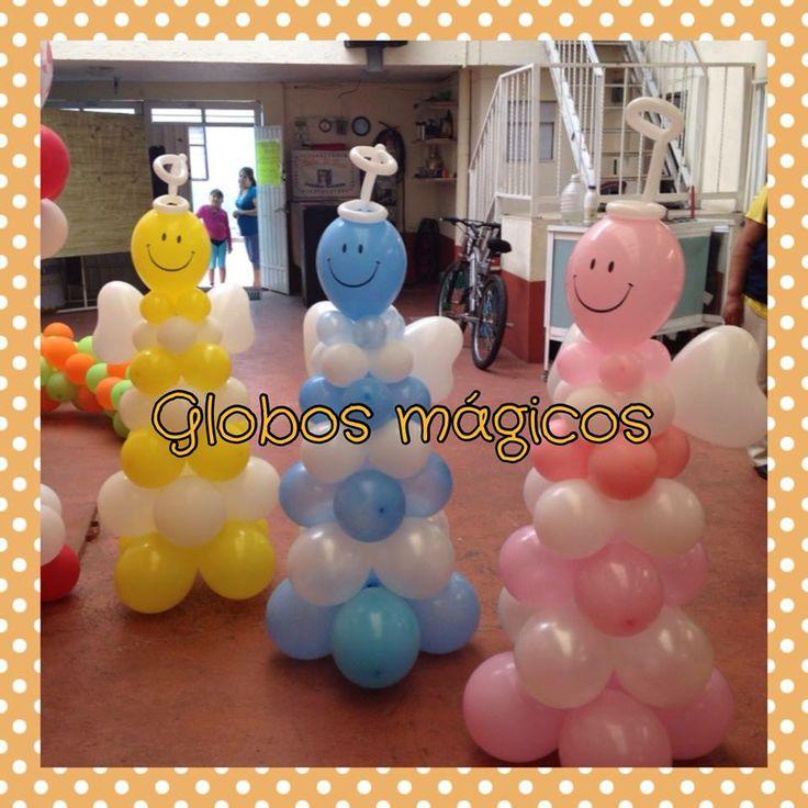 Angelitos en diferentes colores, pueden adornar un bautizo, comunión, etc. La  foto es propiedad de globos magicos.