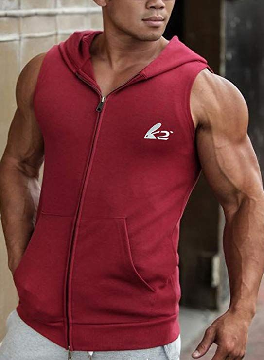 57d8634aad96 BigRabbit® PAIZH Men s Sleeveless Workout Hoodie Zip-up Vests Gym  Bodybuilding Lifting Tank Tops at Amazon Men s Clothing store