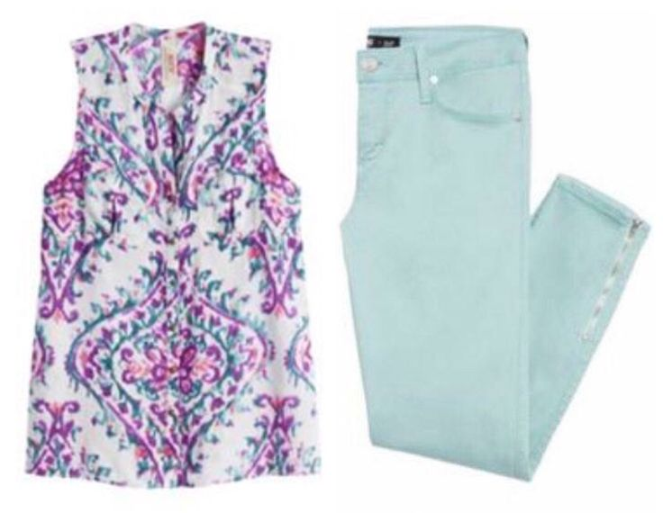 Mint jean and top seem perfect for spring.