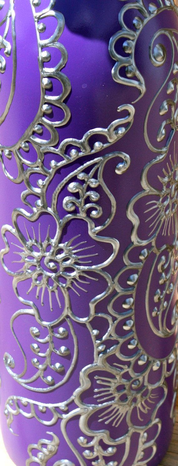 Hand Painted Wine bottle Vase Up Cycled Purple by LucentJane, $25.00