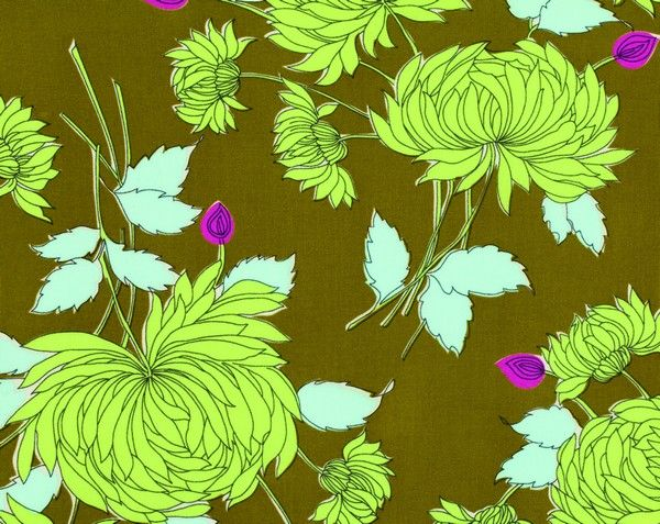 Amy Butler Fabric-Belle-Chrysanthemum-Olive
