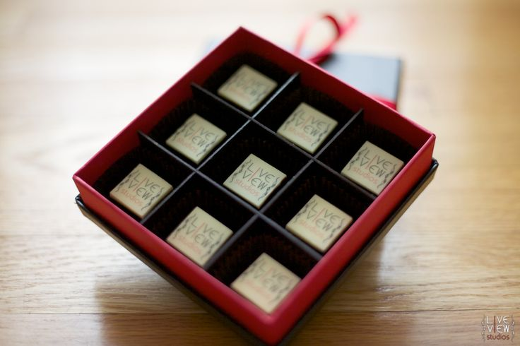 Live View Studios and Red Light Chocolates . . . custom logo chocolates in Raleigh, NC.  Such a great thank you gift for wedding clients.