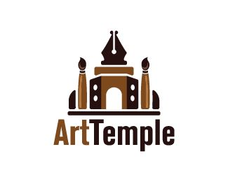 Art Temple Logo design - Logo design of a palace made from paint brushes and a pen.  Price $299.00