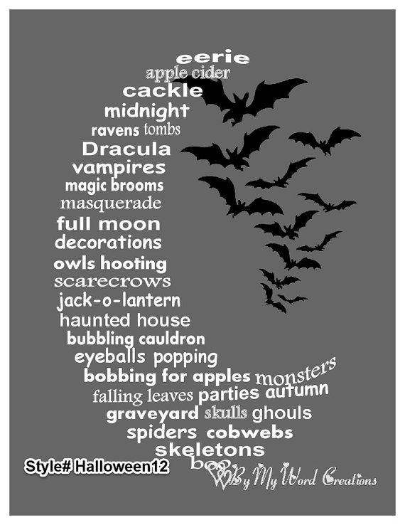 Handmade Halloween Moon word art typography by ByMyWordCreations, $20.00