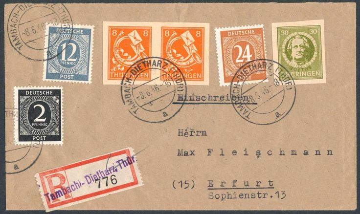 German Russian Occupation, SBZ 1945, Thüringen, VERSUCHSDRUCK, Goethe 30 Pfg.dunkelolivgrün, breitrandig, mit Beifrankatur, 8 Pfg. (ungezähntes Paar) und Alliierte Besetzung/Allgemeine Ausgaben 2 Pfg., 12 Pfg. und 24 Pfg., auf portoger. R-Brief von Tambach-Dietharz/Thüringen (Not-R-Zettel), vom 8.6.46, nach Erfurt 10.6.48, Thüringen Versuchsdrucke auf R-Brief sind extrem selten, Kabinett-Beleg und SBZ-Rarität 1.Ranges! (Mi.-Nr. 99 V1, 96 U, All.Bes. 912, 920, 925). Estimate (8/2016): 3.200…