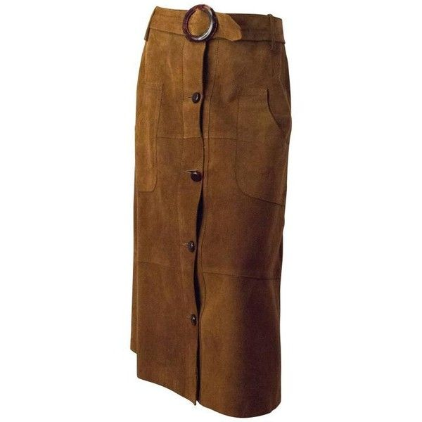 Preowned 70s Tan Belted Suede Button-up Skirt ($295) ❤ liked on Polyvore featuring skirts, brown, suede skirt, brown skirt, suede leather skirt, button up skirt and tan suede skirt