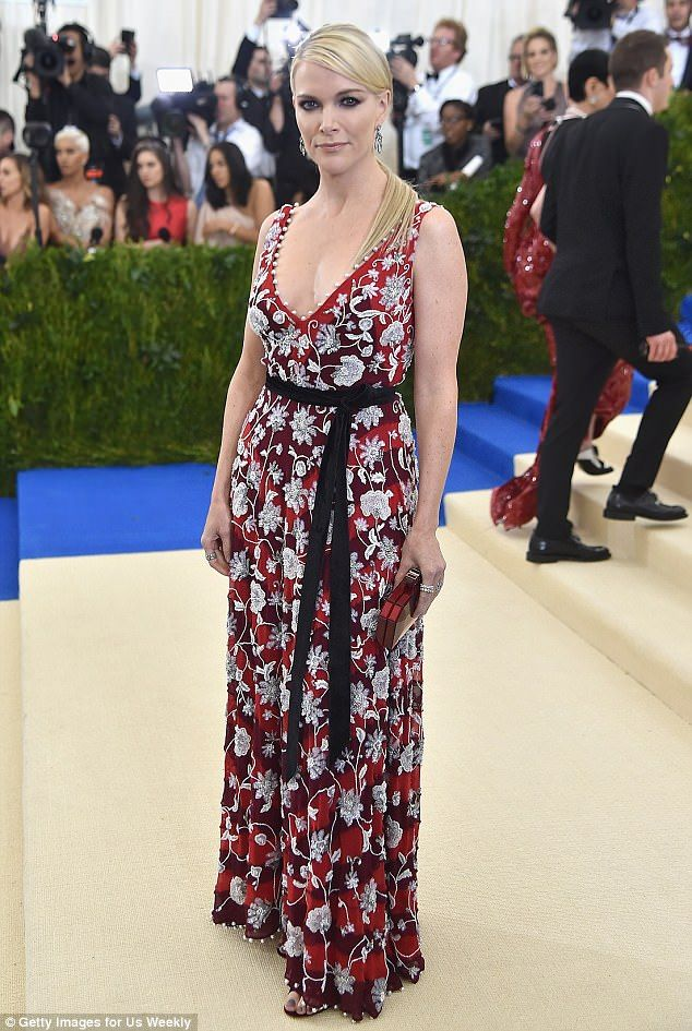 Glamorous: Megyn Kelly sported a low-cut floral frock on the red carpet at the 2017 Met Gala