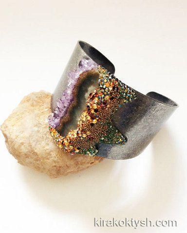 Kira Koktysh Jewelry Cuff Bracelet (Materials: Base Metal cuff bracelet, Amethyst slice,  Swarovski crystals) SOLD