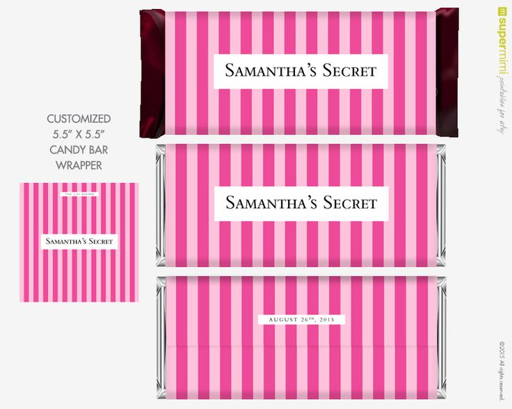 Candy Bar Wrapper Labels Victoria Secret Style Themed Pink