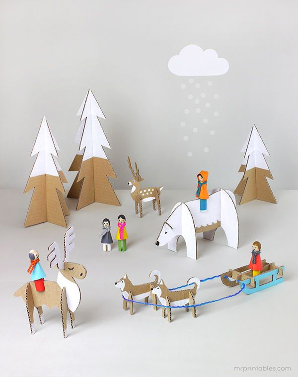 DIY Arctic Cardboard Playsets - Mr. Printables' Templates Make Cute Recycled Cardboard Toys (GALLERY)