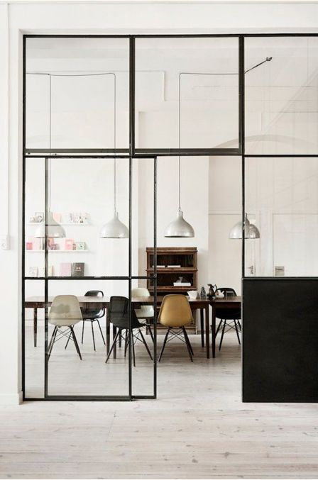 Sliding Glass And Steel Room Divide