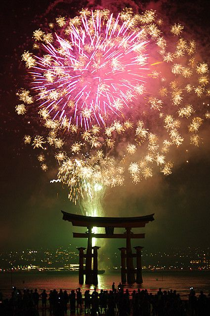 Fireworks, Itsukushima Shinto Shrine in Miyajima, Hiroshima, Japan