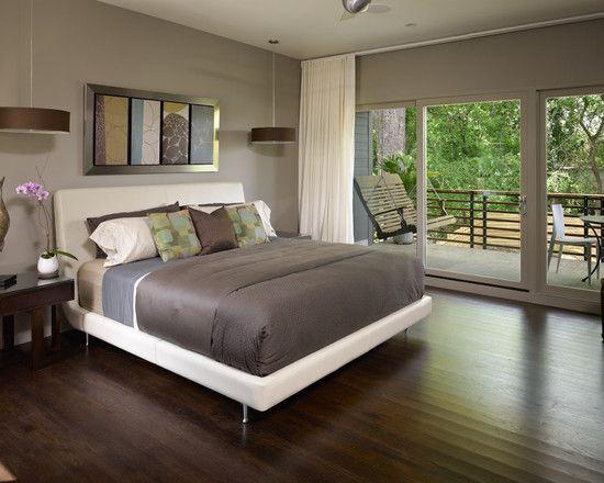 Sensational Modern Home Décor With Minimalist Design: Contemporary Bedroom  Darkwood Wooden Floor Ashley Home Small Balcony | Bedroom | Pinterest |  Bedrooms, ...