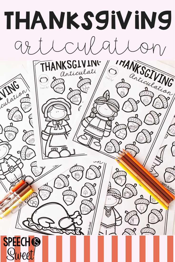 Coloring activities speech therapy - Thanksgiving Articulation Play Dohthanksgiving Ideasarticulation Therapytherapy Ideascoloring Sheetsbingospeech