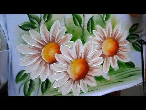 como pintar margaridas em tecido - YouTube