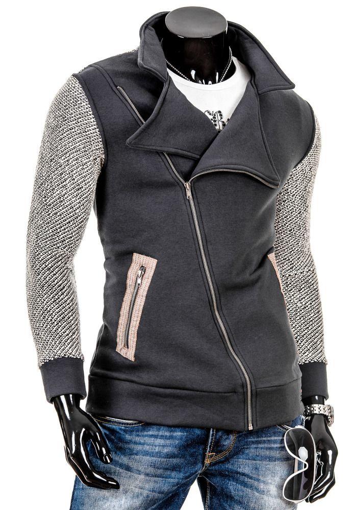RONI 4598 - GRAFITOWY GRAFITOWY | On \ Bluzy męskie \ Bluzy bez kaptura | Denley - Odzieżowy Sklep internetowy | Odzież | Ubrania | Płaszcze | Kurtki