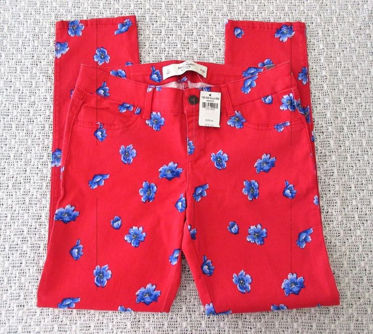 Abercrombie & Fitch Women Skinny Red Blue Floral Ankle Stretch Pants New Flowers #AbercrombieFitch #LeggingsSlimSkinny