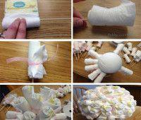 Ramo de pañales para baby shower paso a paso
