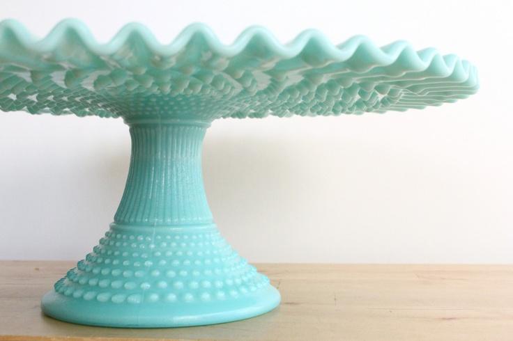Wow!!! Fenton Turquoise Hobnail Milkglass Cake Stand  - Wedding Pedestal Pastel Cupcake Plate with Ruffled Edge. $495.00, via Etsy.