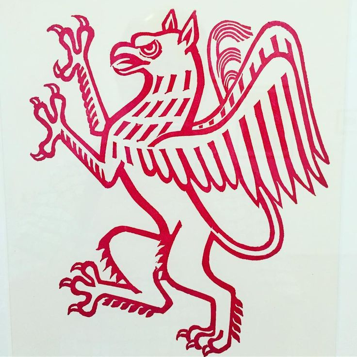 'Griffin Segreant' by Eric Ravilious. One of four heraldic devices Ravilious cut in 1936 for use by The London Passenger Transport Board.