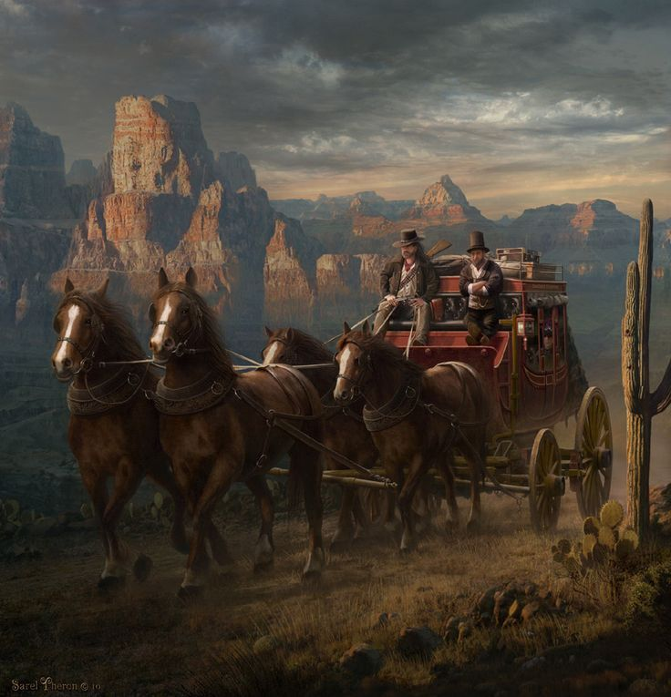 Western Stagecoach Drawing by Murphy Elliott  |Large Western Stagecoach Art