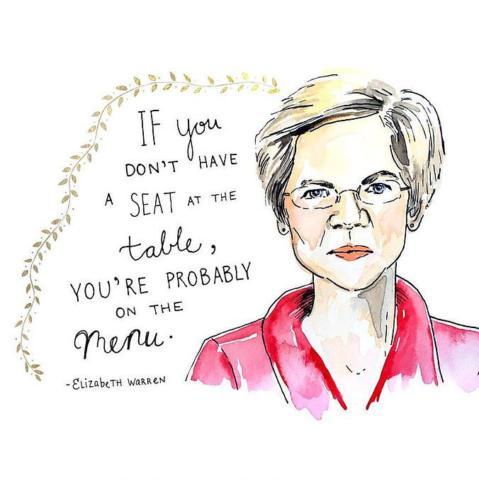 Elizabeth Warren illustration by Kimothy Pikor. Kimothy share her inspirations on Listen Read Watch.