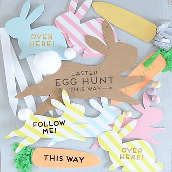 Label the way to your Easter Egg Hunt with fun signs on spring cardstock! Find spring colors and more at www.cardstockshop.com.