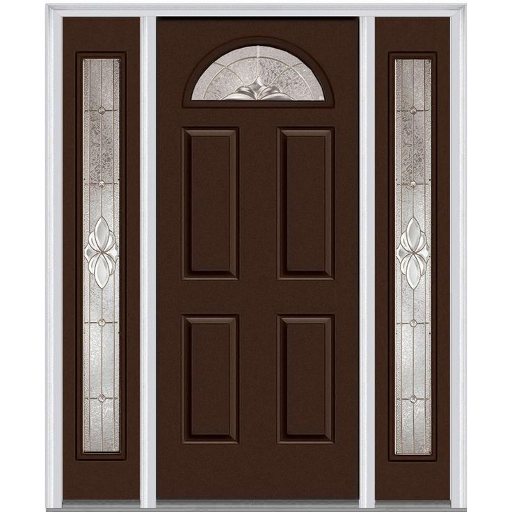 Milliken Millwork 64.5 in. x 81.75 in. Heirloom Master Decorative Glass 1/4 Lite Painted Majestic Steel Exterior Door with Sidelites, Polished Mahogany