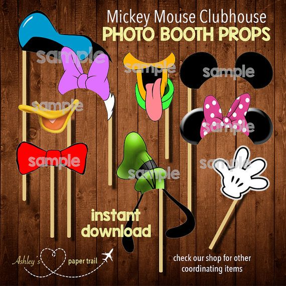 MICKEY MOUSE CLUBHOUSE Photo Booth Props and/or Cutouts-  Digital File on Etsy, $3.00