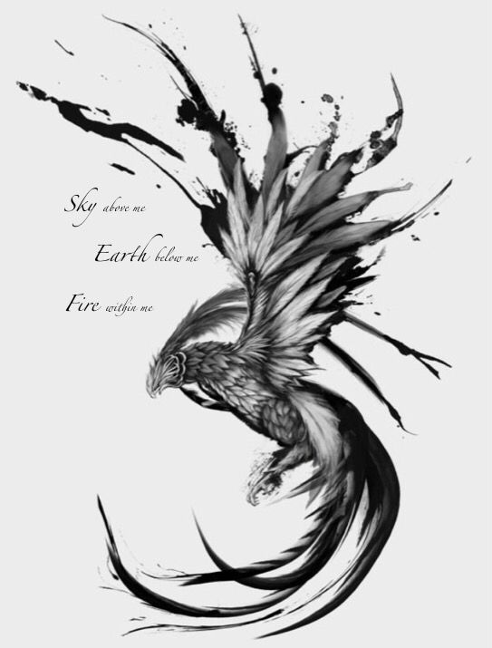 Phoenix tattoo with quote                                                                                                                                                     More