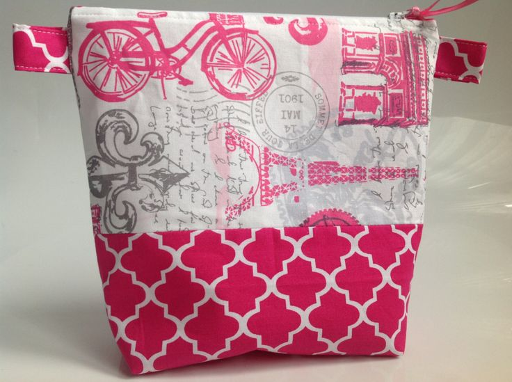 Pink and Grey Paris Fabric Cosmetic Bag Handmade in Scotland by sewmoira on Etsy