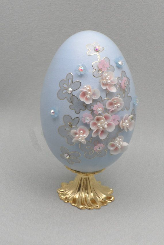 Pink Sea Shell Flowers on Blue Egg Ornament, Shell Flowers Ornament, Shell Art, Faberge Style Decorated Goose Egg