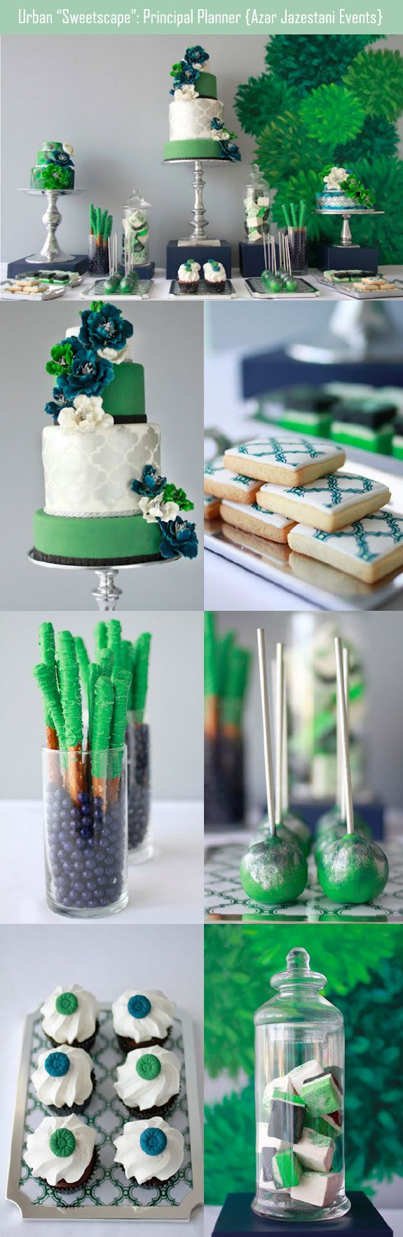 Green sweetscape for a St. Patrick's day wedding includes an awesome wedding cake. #stpatricksdaywedding