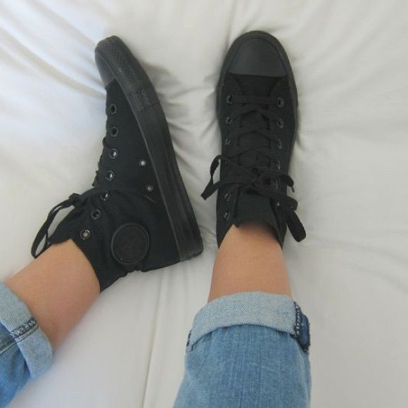 All Black High Top Converse Only worn a couple times in great condition! Men's 8 women's 11. Converse Shoes Sneakers