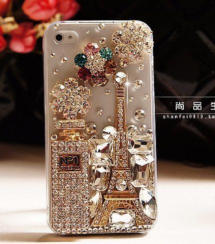 Gold Eiffel tower no5 perfume alloy diy bling phone deco kit K16 | chriszcoolstuff - Craft Supplies on ArtFire
