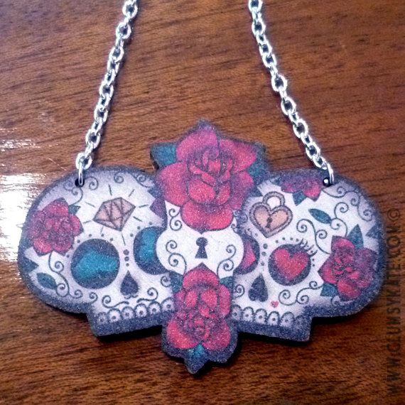 Mexican sugar skull tattoo necklace, designed by Clumsy. Matching items are available, please check out my shop.    This is a printed wooden charm on