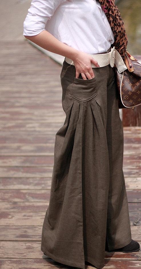 Four Seasons can wear Brown linen Wide leg pants by MaLieb on Etsy, $79.00