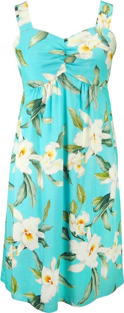 Aloha Kai Hawaiian Print Sun Dress In Blue Womens Tropical Dresses Shirts Clothing