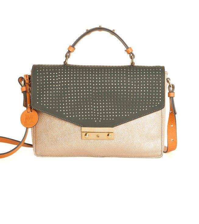 #MMissoni Accessories Look Book | METALLIC BLUSH PINK BRIEFCASE | Fall 2014 Collection
