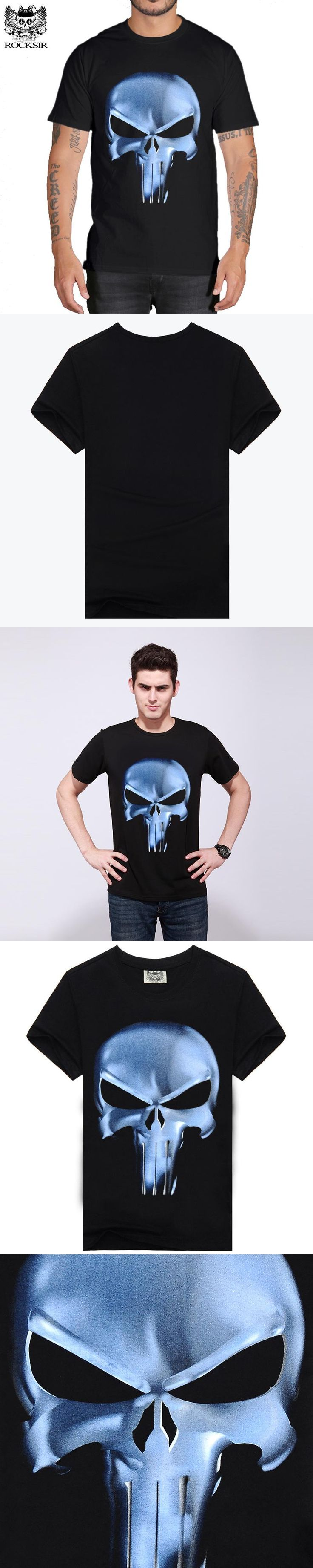 Rocksir punisher t shirt Men Summer punisher Skull Head Grim 3D 100% Cotton t shirts for Men Casual Short Sleeves Brand t-shirt