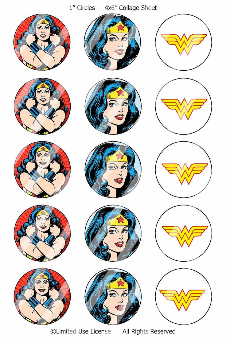 Super Hero Wonder Woman Bottle Cap Image collage by Mod2vintDesign