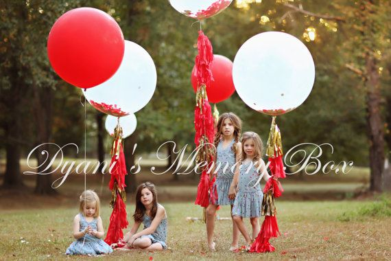 36 Round Latex Balloons With Tassel Tail Custom Made to Match your Event colors (View Color Chart for reference)     LEAVE ME A NOTE AT CHECKOUT WITH THE COLORS OF YOUR CHOICE FOR THE TASSEL TAIL AND CONFETTI.   -------------------------------------------