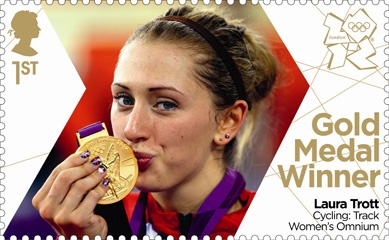 Royal Mail 'next day' Gold Medal winners stamps for Team GB - Laura Trott Women's Cycling Omnium #London2012 #Olympics
