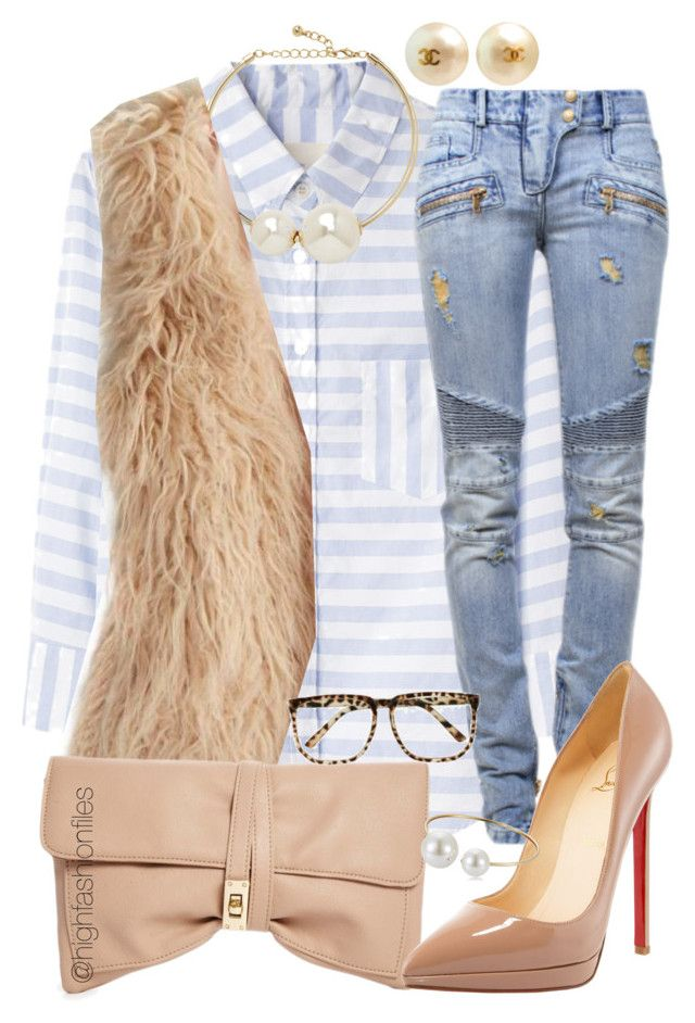 Fall Baby by highfashionfiles on Polyvore featuring Band of Outsiders, American Eagle Outfitters, Balmain, Christian Louboutin, ASOS, Express, Chanel and Oscar de la Renta